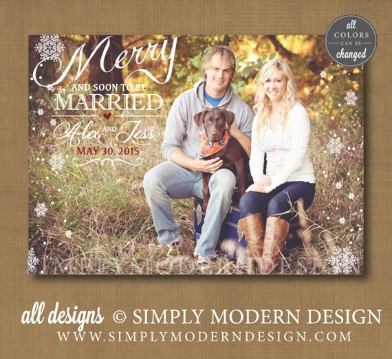 save the date christmas card merry christmas married