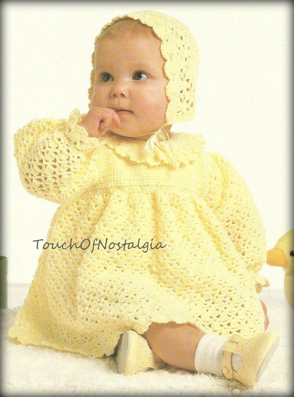 Crochet Baby Dress And Bonnet Pattern : Crochet Baby DRESS Bonnet Pattern LACY Baby by ...