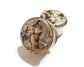 "Silver Art Nouveau Woman Plugs sizes 9/16"" - 1 1/8"" Double Flare Or Single Flare"