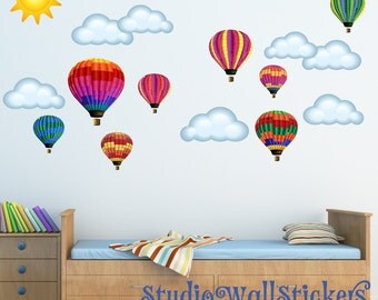 Hot Air Balloons Wall Decal REUSABLE Wall DECAL JUMBO Size