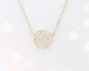 Pave Diamond Disc Necklace - 14k Gold - LIMITED EDITION