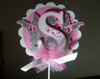 Princess Cake Topper / Center Piece...Happy Birthday topper...Smash Cake Topper...Could read either a letter or number