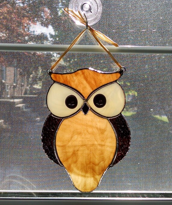 Stained glass owl suncatcher bird window by