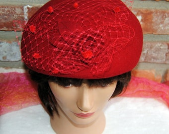 48 HR SALE! Betmar Dress Hat - Red Wool, Lace, Flower - Vintage- Fabulous!