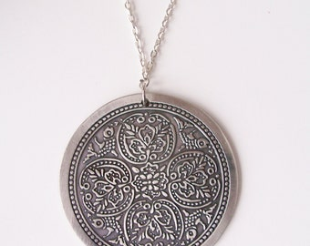 CLEARANCE - Metal disc pendant necklace  - ornate flower disc pendant - metal disc necklace - flower necklace - large round pendant necklace