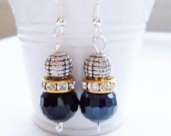 Black crystal and metal earrings - Swarovski banded earrings - black crystal earrings - black jewerly - metal beaded earrings