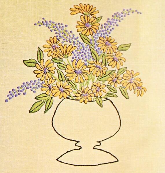 Vintage Floral Vase Crewel Kit By Coats & By OrangeDogVintage