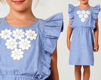 Girls dress pattern PDF, Childrens sewing pattern pdf, girls sewing pattern pdf, kids sewing pattern pdf, dress pattern, TIFFANY