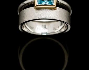 Blue Topaz ring. 18k Gold Ring. Gemstone ring. Minimal ring. Gold setting ring. Double ring. Birthstone ring.