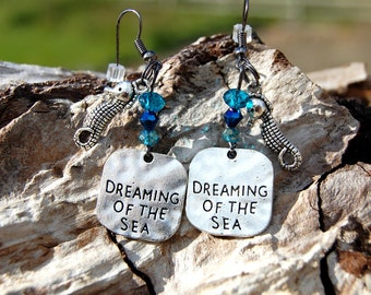 Beach Earrings, Dreaming of the Sea Earrings, Crystal Earrings, Dangle Earrings, Christmas Gifts for Her, Personalized Beach Earrings
