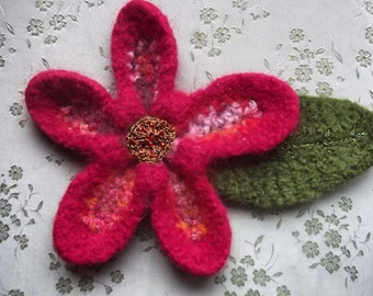 Bold and Beautiful Crocheted Felted Flower Brooch Pin - Red Gold Green