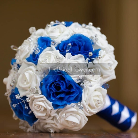 Royal Blue Silver And White Wedding Bouquets : Royal blue and white wedding bouquet with by thebridalflower