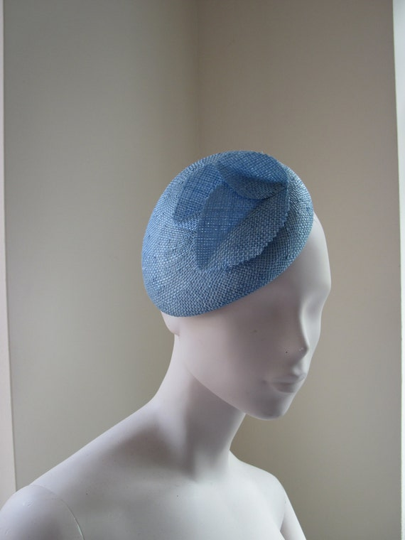 womens blue leaves cocktail hat wedding formal by