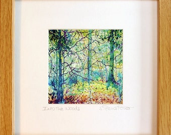 Framed print of trees in Acrylic Ink, Into the Woods, trees in autumn