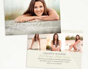 Senior Graduation Announcement Template for Photographers 013 - ID227, Instant Download
