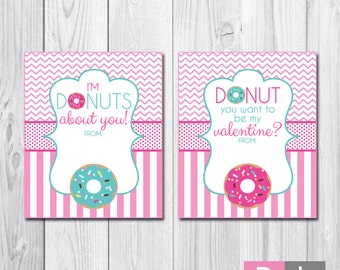 Donut Valentines - INSTANT DOWNLOAD - Printable Valentines Cards - Pink and Blue Donuts