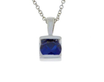 1 Ct Blue Sapphire Round Pendant .925 Sterling Silver
