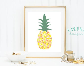 Pineapple Print, Pineapple Wall Art, Pineapple Art, Pineapple Decor