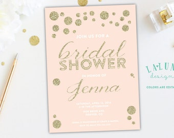 Bridal Shower Invitation, Pink and Gold Invitation, Gold Glitter Bridal Shower Invite, Pink & Gold Bridal Shower, Peach and Gold Invitation