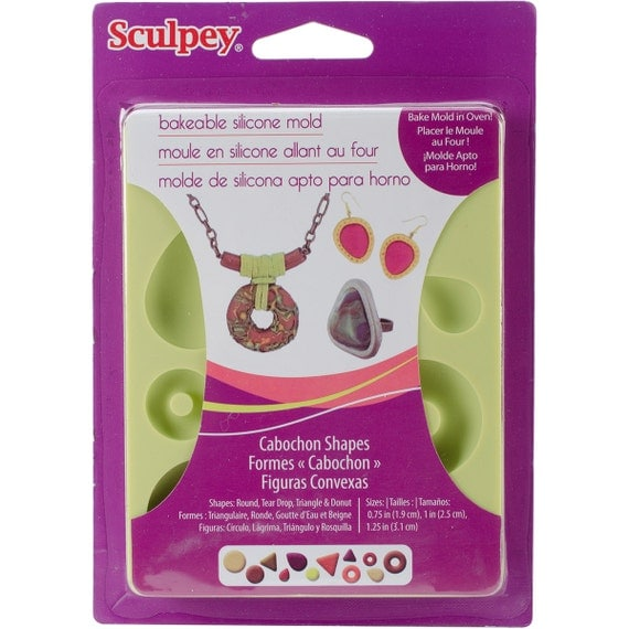 Bakeable silicone Cabochon mold shapes by sculpey make your own cabochon molds