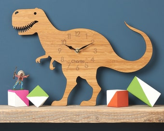 Dinosaur Clock, T-Rex Modern Wall Clock, Childrens Clock, laser cut by Owl & Otter