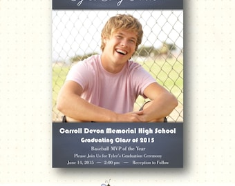 Graduation Invitation, graduation announcement, grad photo card, grad photo invitation, 2015 graduation, Class of 2015 Invitation, GR2003