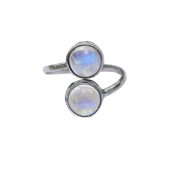 rainbow moonstone sterling silver ring adjustable bohemian