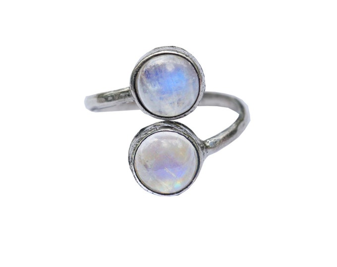 Rainbow Moonstone Sterling Silver Ring, Adjustable Bohemian Style Hand Hammered Silver Ring for Women