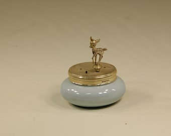 HOLD for Elaine Vintage Blue K&A Krautheim Porcelain Music Box Selb Bavaria Germany Deer Bambi Made in Western Germany