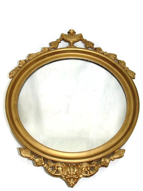Vintage round 29 tall mirror gold gilt style by studio180 for Tall gold mirror
