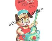 vintage Valentine DIGITAL DOWNLOAD •  sugar bowl dog • 1950's Valentine • JPEG digital download
