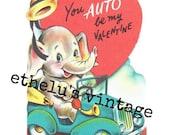 vintage Valentine DIGITAL DOWNLOAD • driving elephant • 1950's Valentine • JPEG digital download