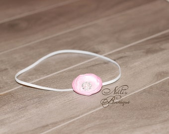 Small Light Pink Dainty Flower Skinny Elastic Newborn Baby Headband, Photography Prop