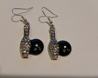 Bling Bowling Ball & Pin Clear Rhinestone Hook Earrings Jewelry Gift