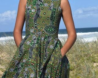 Vintage style- Sleeveless dress-- Full Circle Skirt- Aboriginal Artwork Print- Dancing Spirit green- side pockets- 100% Cotton