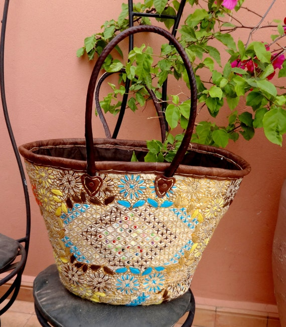 Embroidered Moroccan Basket Ibiza Beach Bag French market