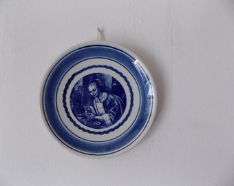 Vintage Delfts Blue and White Vintage Decorative Plate With Portait of Woman