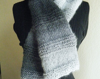 Shades of Gray Unisex Hand Knit Scarf