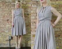 derby day vintage 60s SEERSUCKER sundress xs / s a line summer cotton full aline midi retro grey white nautical