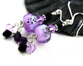 Lilac Earrings, Lampwork glass Earrings, Lavender Dangle Earrings, Sterling silver, Black Earrings, Beadwork Earrings