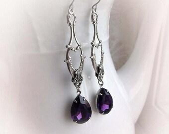 Purple drop earrings gothic vintage renaissance earrings victorian baroque evening earrings purple crystal dangling jewel hanging earrings