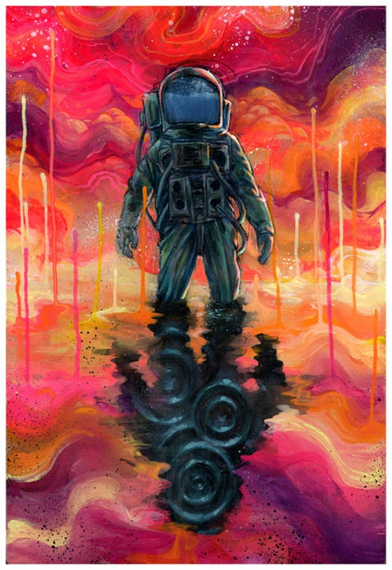 Surreal Art - Spaceman Art - Astronaut - Colorful Art - Spaceman Spliff by Black Ink Art