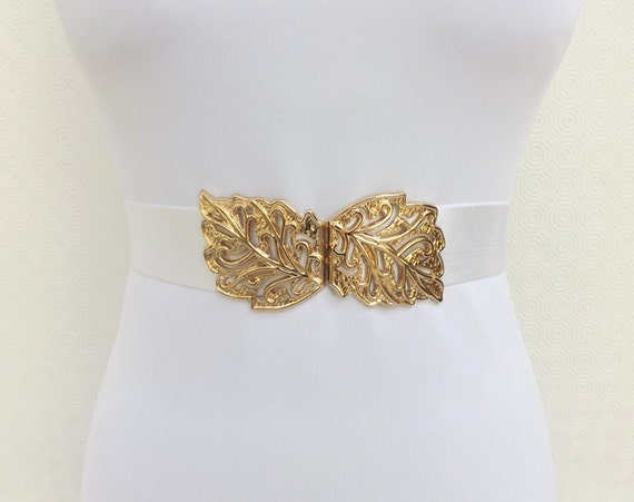 White elastic waist belt. Gold filigree leaf buckle. Wide belt. Bridal belt. White wedding belt.