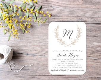 Laurel Bridal Shower Invitations - Printable File OR Printed - Neutral and Modern Invitation