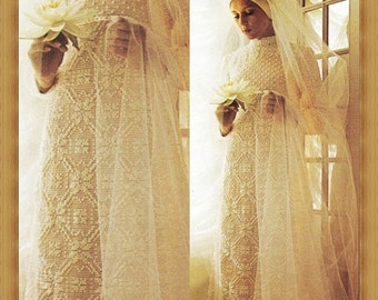 Crochet wedding dress etsy for Wedding dress patterns free download