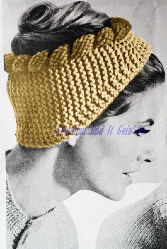 Headband Head Wrap Knitting Pattern : Vintage Headband Knitting Pattern Ear Cover Wrap WINTER