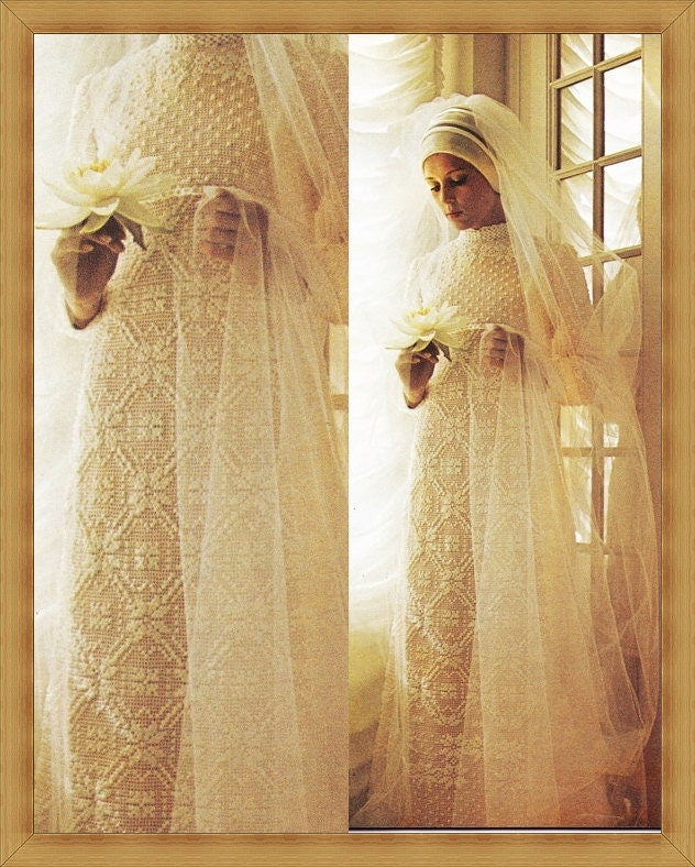 Vintage crochet wedding dress pattern pdf instant download for Crochet wedding dress patterns