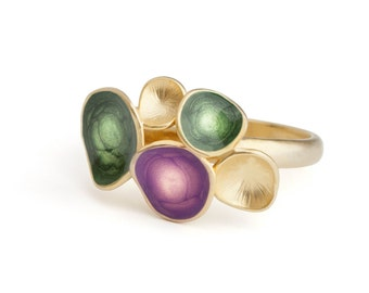 Green statement ring, gold enamel jewelry, geometric ring, colorful jewelry, purple and green ring, purple enamel jewelry, violet ring