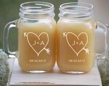 Engagement Gift Glasses - 2 - Etched Mason Jar Mugs, Couples Gift, Just Married, Personalized Wedding Gift, Party Cup, Wedding Present