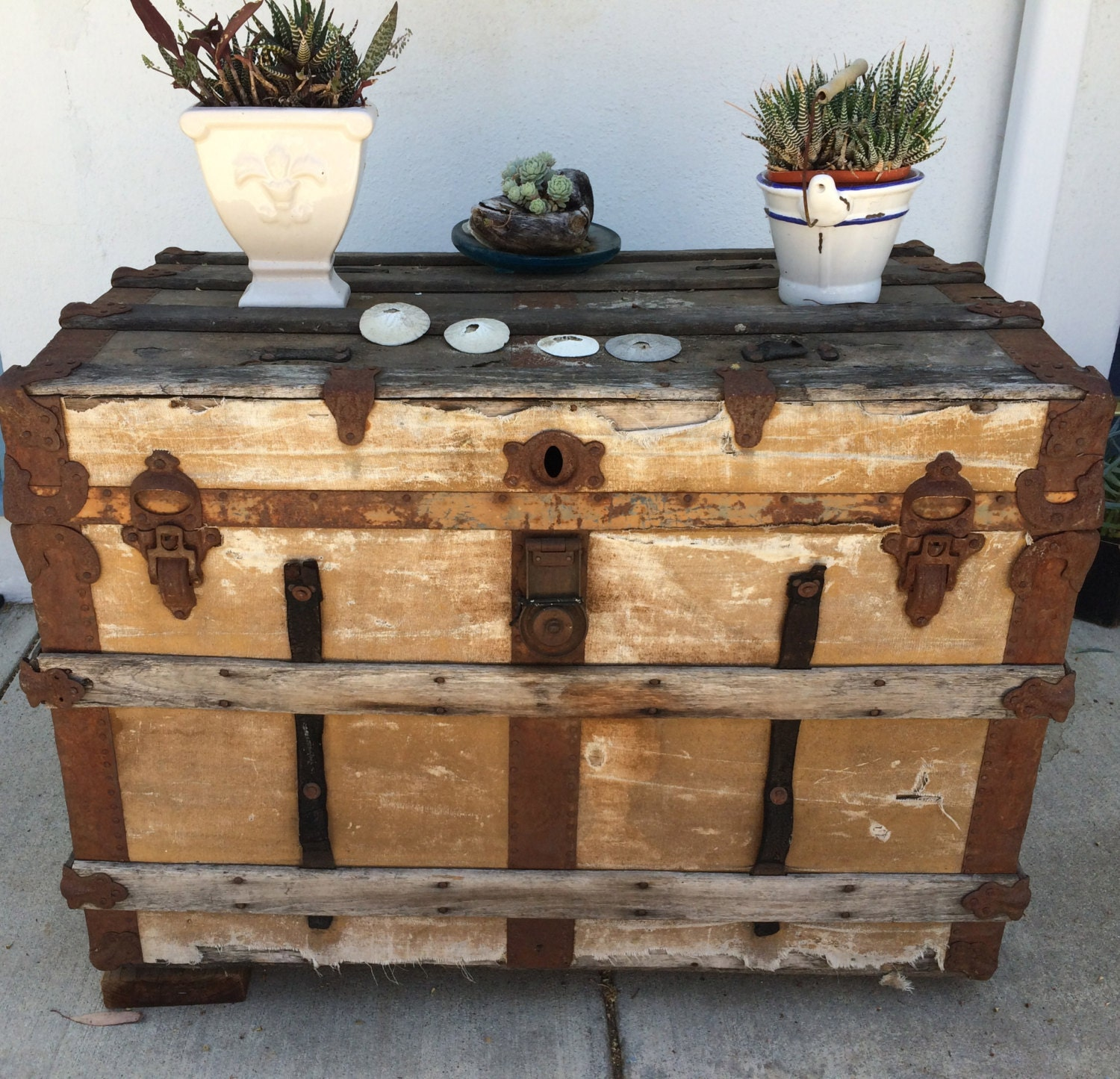 Primitive Trunk Coffee Table Flat Top Steamer Chest Antique